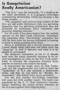 1 Febbraio 1952, L'organo ufficiale del sindacato ILWU si scaglia contro il concorrente ILA, accusato d'essere corrotto e nelle mani del racket