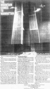 1968, un gruppo di magnati immobiliari compra una pagina del New York Times per chiedere al Governatore Nelson Rockefeller di fermare la costruzione del World Trade Center