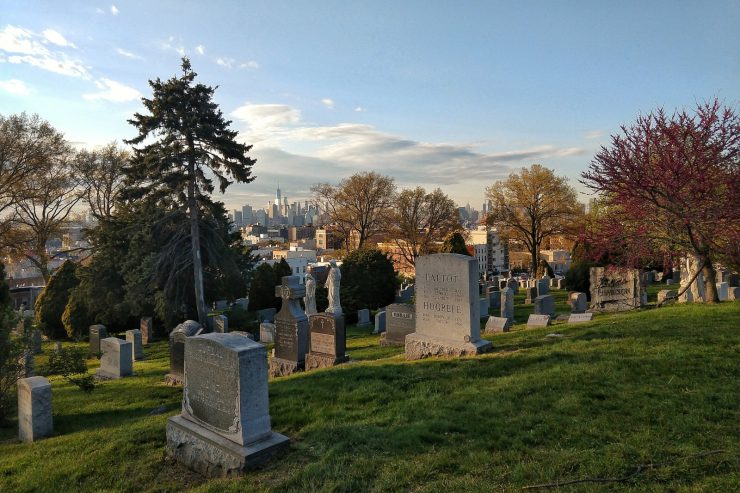 Cimitero di Green-Wood, panorama di Lower Manhattan