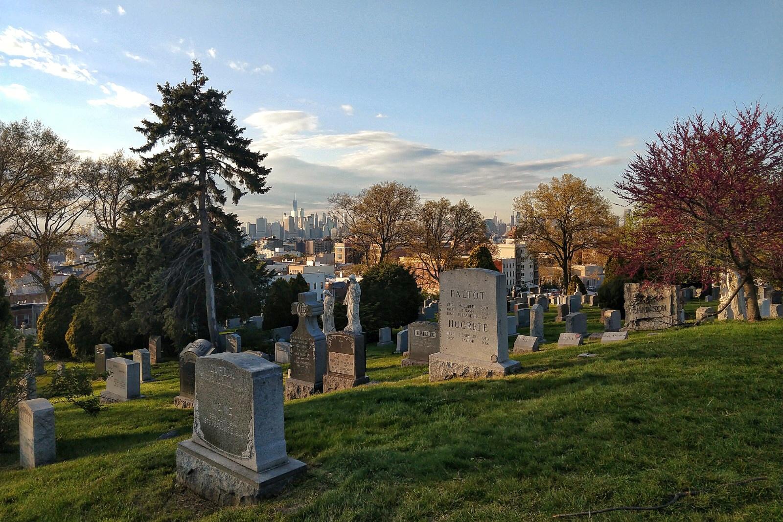 Cimitero di Green-Wood, panorama di Lower Manhattan
