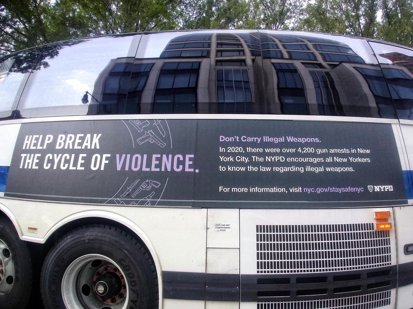 New York, MTA bus, Help Break the Cycle of Violence, iIlegal weapons